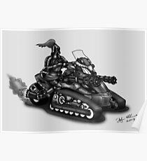 STEAMPUNK 'CAN AM' SPYDER STYLE KNIGHT RIDER MOTORCYCLE (BLACK AND WHITE) Poster