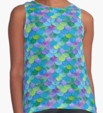 Mermaid Seamless Scale Pattern Contrast Tank
