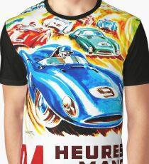 DU MANS: Vintage 24 Hr Auto Racing Print Graphic T-Shirt