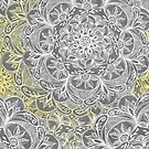 Yellow & White Mandalas on Grey  by micklyn