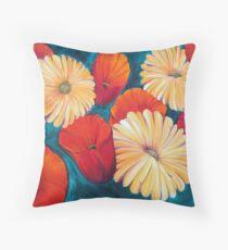 Poppies and Gerberas -  Throw Pillow