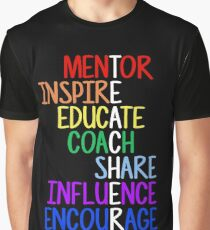 Teacher Meaning Mentor Inspire Educate Coach Share Graphic T-Shirt