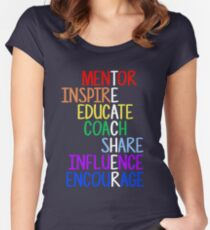 Teacher Meaning Mentor Inspire Educate Coach Share Women's Fitted Scoop T-Shirt