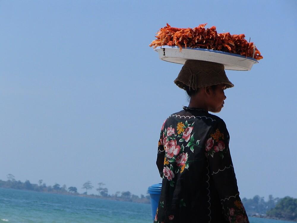Prawn Seller at Sihanoukville  by JacTaylor
