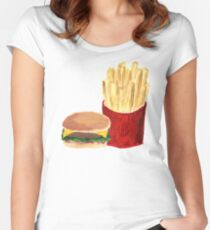 Burger and Fries - Acrylic Painting Women's Fitted Scoop T-Shirt