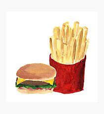 Burger and Fries - Acrylic Painting Photographic Print