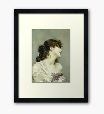 Giovanni Boldini - Profile Of A Young Woman Framed Print