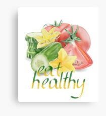 Watercolor Vegetables Eat Healthy Canvas Print