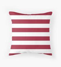 Crimson Red Horizontal Stripes Pattern Throw Pillow
