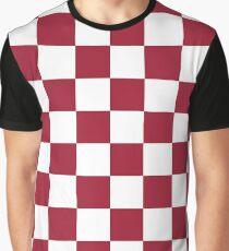 Crimson Red Checkered Pattern Graphic T-Shirt