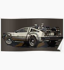 Back to the future Delorean Brown | Car | Cult Movie Poster