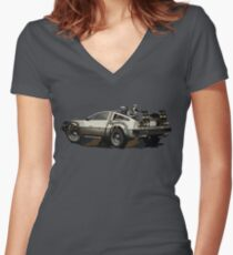Back to the future Delorean Brown | Car | Cult Movie Women's Fitted V-Neck T-Shirt