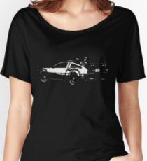 Back to the Future Delorean   Cars   Cult Movies Women's Relaxed Fit T-Shirt