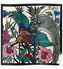 "Margaret Preston Australian Woodcut ""Bird Of Paradise"" Poster"