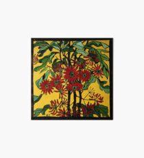 """Margaret Preston Australian Woodcut """"Wheel Flower"""" Art Board"""