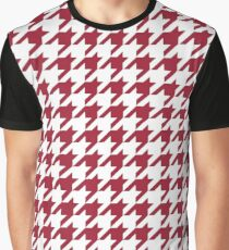 Crimson Red Houndstooth Pattern Graphic T-Shirt