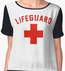 Lifeguard White Gray Black Swimming Pool Chiffon Top