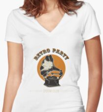 Retro party emblem with gramophone Women's Fitted V-Neck T-Shirt