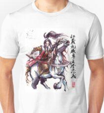 Female Samurai with Naginata on Horse Japanese Calligraphy Unisex T-Shirt
