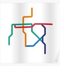 Mini Metros - Santiago, Chile Poster