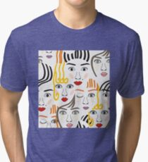 Girls faces with eyes, hairs, noses and lips Tri-blend T-Shirt