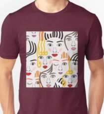 Girls faces with eyes, hairs, noses and lips Unisex T-Shirt