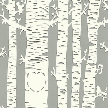 Papercut birch tree with carved heart and birds by andreawillette