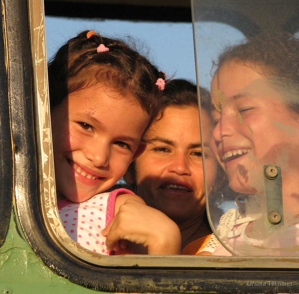 Laughter under the cuban sun - mother and children by Ursula Tillmann