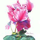 Ruffled Cyclamen Watercolor by Pat Yager