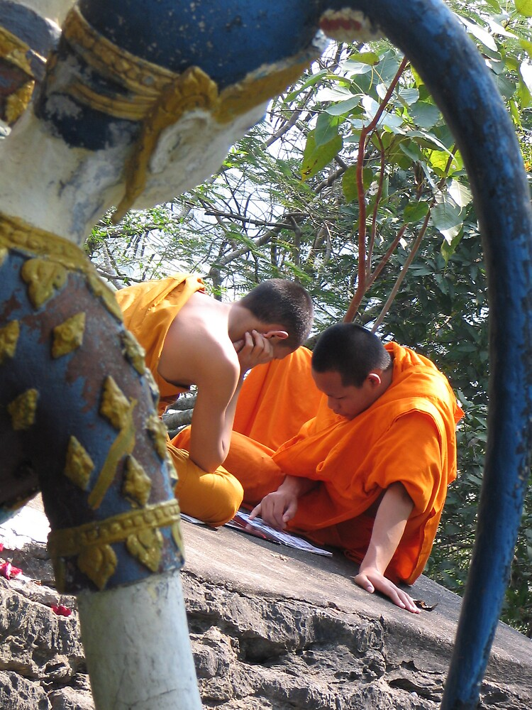 Laos Buddhist Monks at Rest in Luang Prabang by JacTaylor