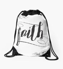 Faith Calligraphy Typography with Floral Border Drawstring Bag