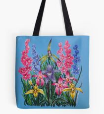 'Tasmanian Orchids in blue' Tote Bag