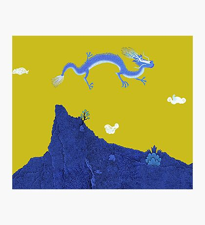 Blue Dragon and Mountain Photographic Print