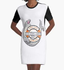 I Do What I Want Leopard Seal Graphic T-Shirt Dress