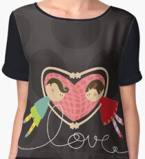 Valentine Heart Cartoon Boy Loves Girl Women's Chiffon Top