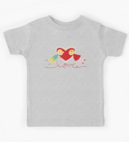Valentine Heart Cartoon Boy Loves Girl III Kids Clothes