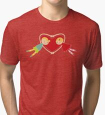 Valentine Heart Cartoon Boy Loves Girl III Tri-blend T-Shirt