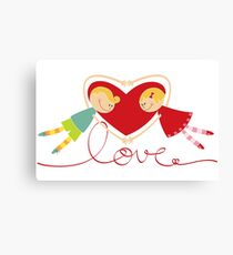 Valentine Heart Cartoon Boy Loves Girl III Canvas Print