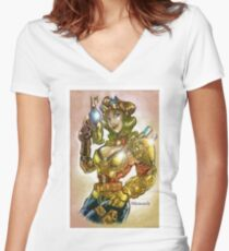 rocket steampunk Women's Fitted V-Neck T-Shirt