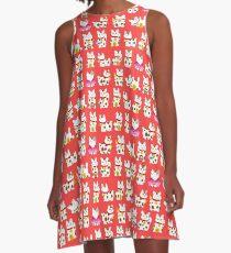Maneki-Neko (Lucky Cat) Pattern A-Line Dress