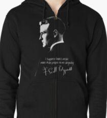 F. Scott Fitzgerald Design Zipped Hoodie