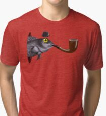 Magritte Fish Tri-blend T-Shirt