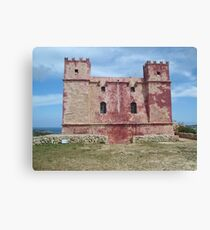 Red Tower at Ghadira, Malta Canvas Print