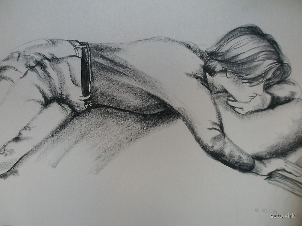 Study of a clothed figure, reading by satu kirk