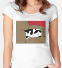 Sleeping Black and White Cat Women's Fitted Scoop T-Shirt