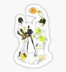 Two girls - green Sticker