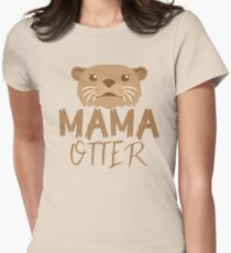 MAMA OTTER (with matching Papa Otter and Baby Otter) Womens Fitted T-Shirt