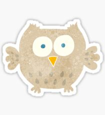 retro cartoon happy owl Sticker