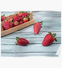 Strawberry natural healthy nutrition organic food in rustic  on vintage wooden background. Vegetarian, full of vitamin dessert. Poster