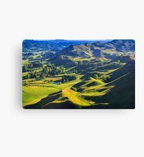 green hills landscape, location - New Zealand Canvas Print